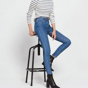 SANDRO Tobby Visible-seam Skinny High-rise Jeans